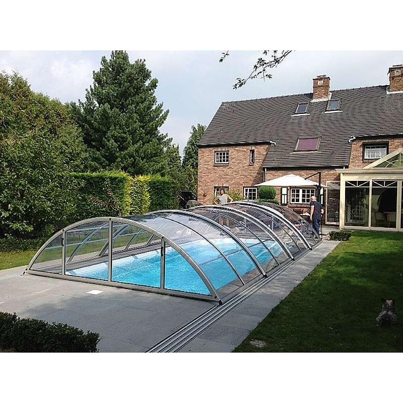 ALBIXON Zastřešení bazénu KLASIK Clear A 3,6 x 6,4 x 1 m NOBOX Antracit DB703 s montáží