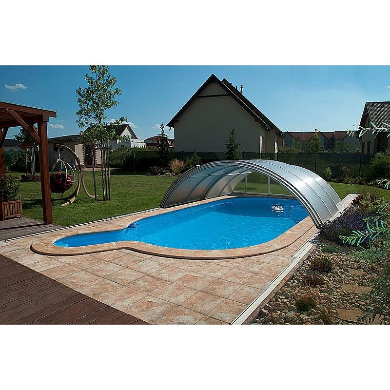 ALBIXON Zastřešení bazénu KLASIK B 4,7 x 8,6 x 1,3 m NOBOX Silver Elox s montáží