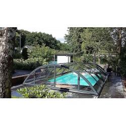 Zastřešení bazénu KLASIK Clear B 4,7 x 8,6 x 1,3 m NOBOX Silver Elox s montáží