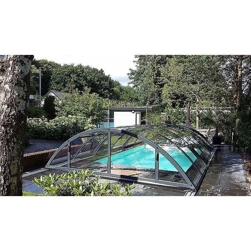 ALBIXON Zastřešení bazénu KLASIK Clear B 4,7 x 8,6 x 1,3 m NOBOX Silver Elox s montáží