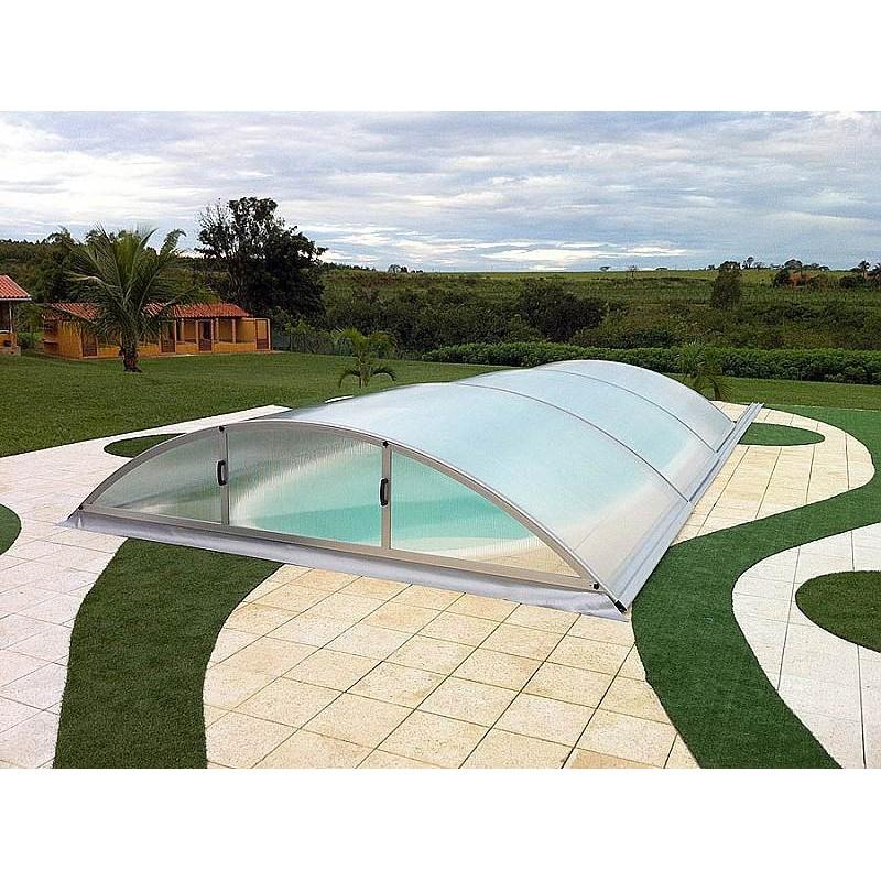 ALBIXON Zastřešení bazénu KLASIK SMART B 4,7 x 8,56 x 1,3 m NOBOX Silver Elox s montáží