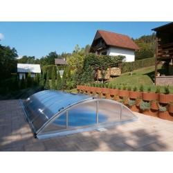 Zastřešení bazénu KLASIK A 3,6 x 6,4 x 1 m NOBOX Silver Elox s montáží