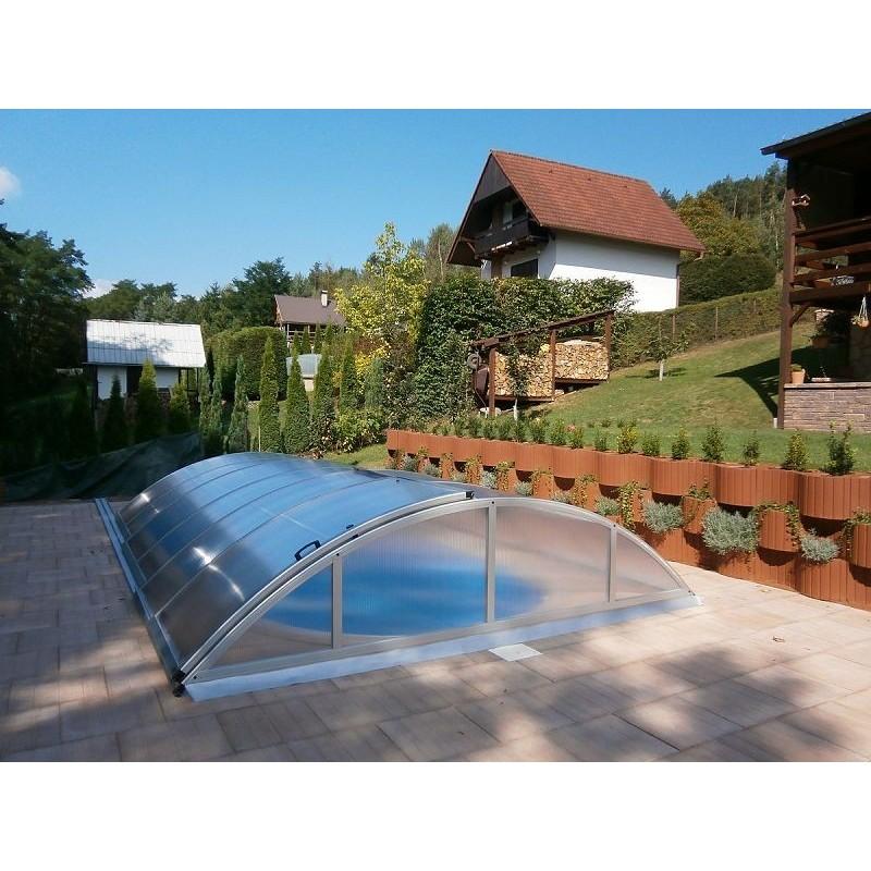 ALBIXON Zastřešení bazénu KLASIK A 3,6 x 6,4 x 1 m NOBOX Silver Elox s montáží