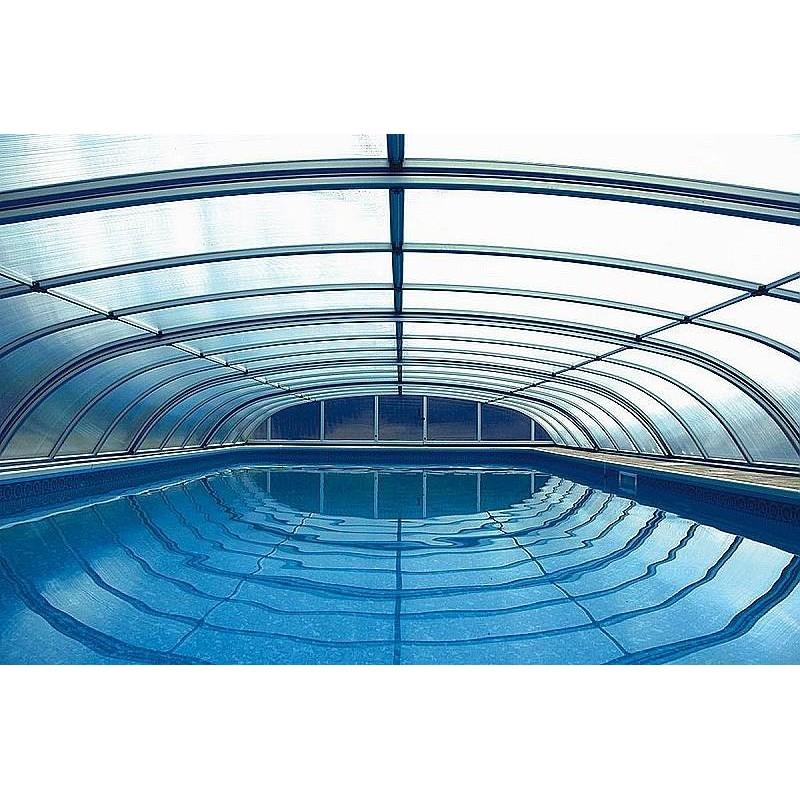 ALBIXON Zastřešení bazénu DALLAS A 4,7 x 6,4 x 0,75 m Silver Elox s montáží