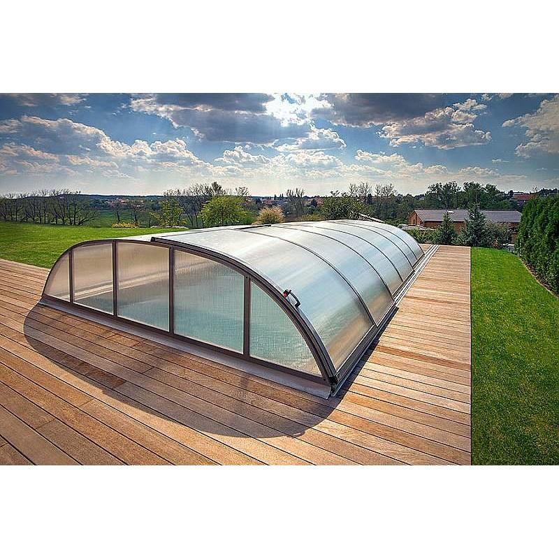 ALBIXON Zastřešení bazénu DALLAS A 4,7 X 6,4 x 0,75 m Antracit DB703 s montáží