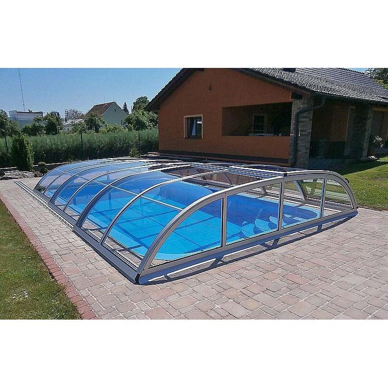 ALBIXON Zastřešení bazénu DALLAS CLEAR A 4,7 X 6,4 x 0,75 m Silver Elox s montáží