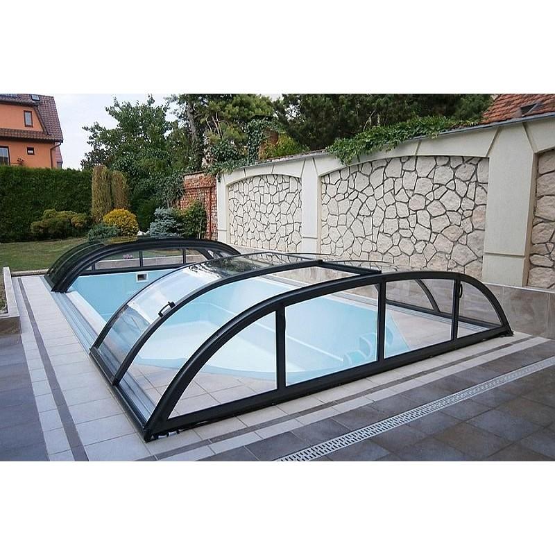 ALBIXON Zastřešení bazénu DALLAS CLEAR A 4,7 X 6,4 x 0,75 m Antracit DB703 s montáží