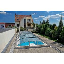 Zastřešení bazénu DALLAS CLEAR B 5,2 x 8,6 x 1 m Silver Elox s montáží