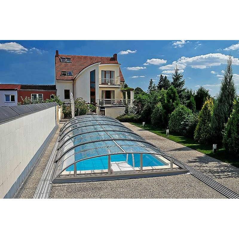 ALBIXON Zastřešení bazénu DALLAS CLEAR B 5,2 x 8,6 x 0,85 m Silver Elox s montáží