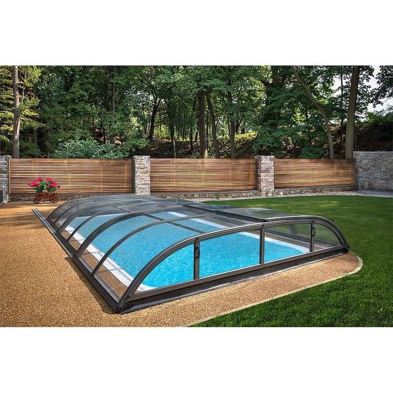 ALBIXON Zastřešení bazénu DALLAS CLEAR B 4,7 X 6,4 x 0,85 m Antracit DB703 s montáží