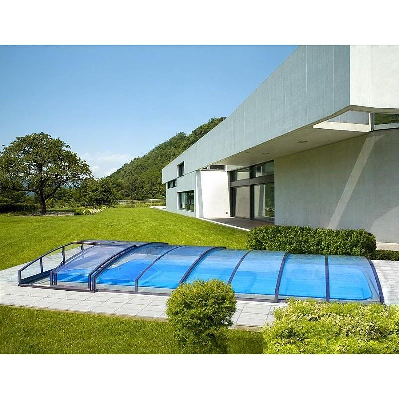 ALBIXON Zastřešení bazénu CASABLANCA INFINITY B 5,0 X 8,6 x 0,75 m Carbon s montáží