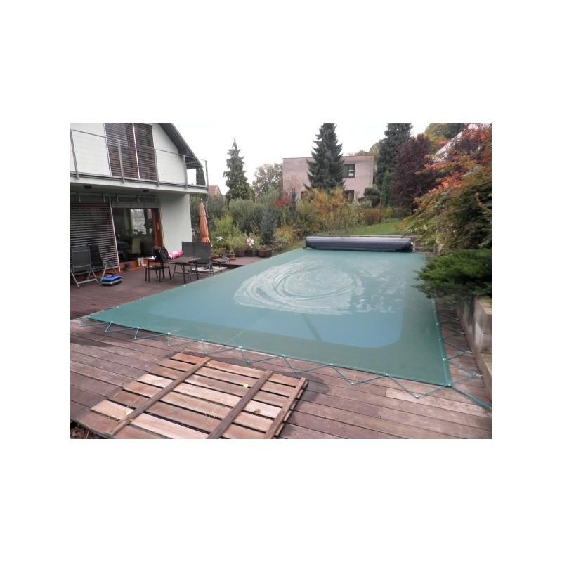 KONTIS Zimní plachta 4,5x6,5m na bazén 3,5x5,5m zelená síťovaná
