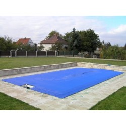 Zimní plachta 4,5x8,5m na bazén 3,5x7,5m modrá síťovaná