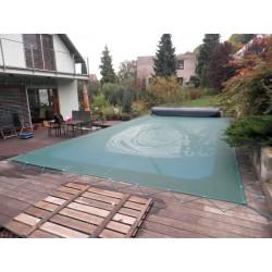 Zimní plachta 4,5x8,5m na bazén 3,5x7,5m zelená síťovaná