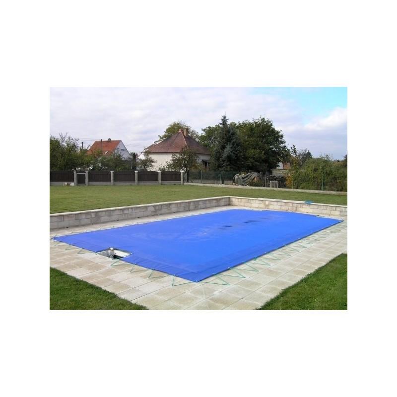 KONTIS Zimní plachta 4x8m na bazén 3x7m modrá síťovaná