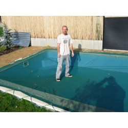 Zimní plachta 4x8m na bazén 3x7m modrá síťovaná