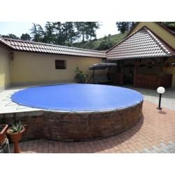 Zimní plachta na kruhový bazén 5 m modrá síťovaná