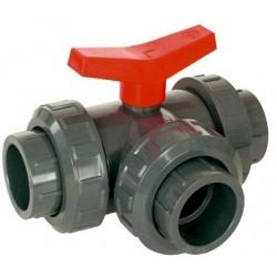 PVC Kulový třícestný ventil 25 mm T