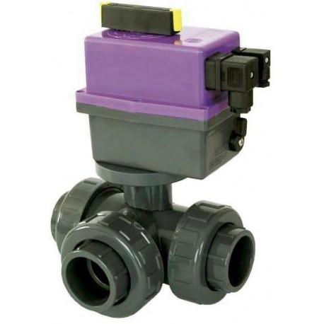 PVC Kulový el. třícestný ventil 50 mm CH-L (nové FIP-L)