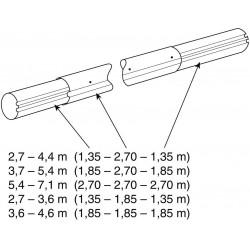 Teleskop. navíjecí tyč - délka: 3,7–4,6 m (eloxovaný hliník)