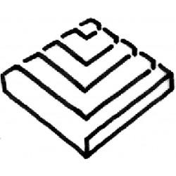 Dekorace - roh mřížky roštu 250 x 250 x tl. 40 mm – Hladký povrch