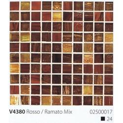 Skleněná mozaika 2x2cm V4380 Rosso / Romato Mix