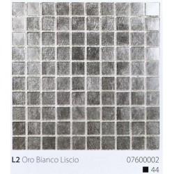 Skleněná mozaika 2x2cm L2 Oro Bianco Liscio