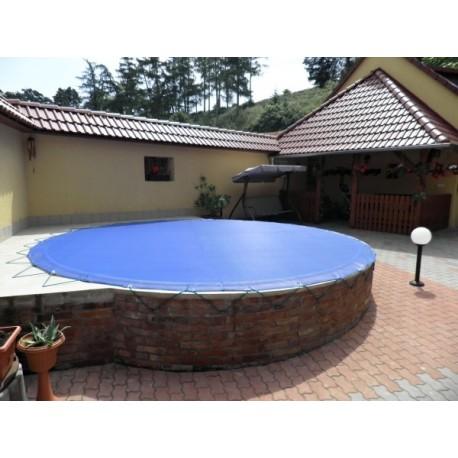 Zimní plachta na kruhový bazén 6 m modrá síťovaná