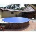 Zimní plachta na kruhový bazén 5,5 m modrá síťovaná